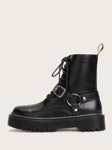 Buckle Decor Lace-up Front Combat Boots