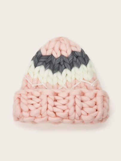 Color Block Braided Knit Beanie
