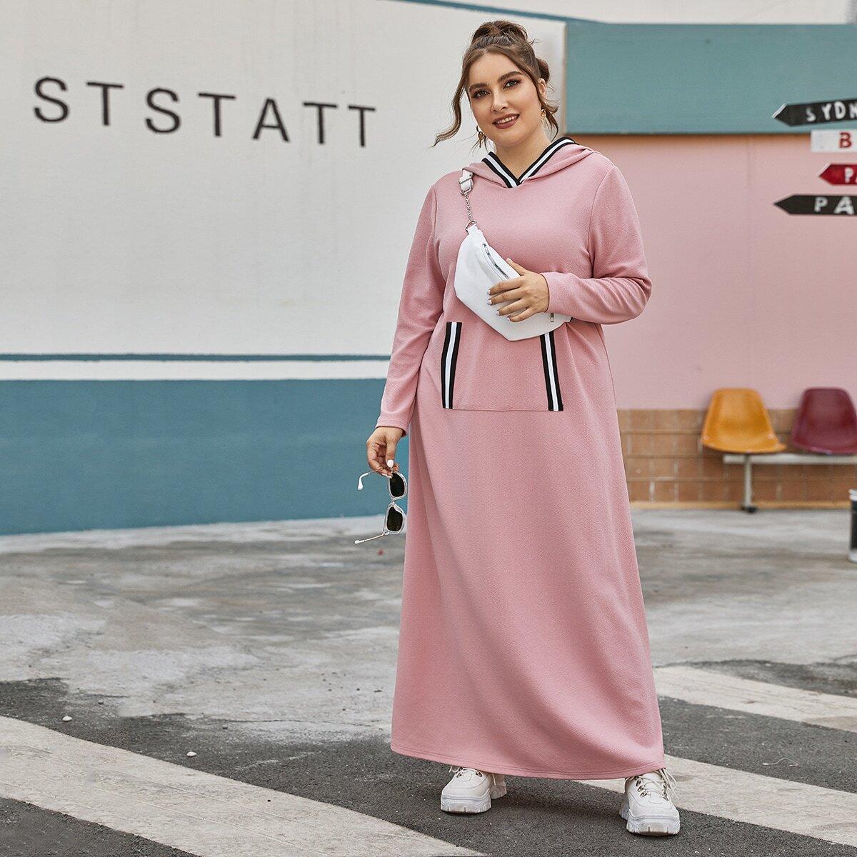 Платье размера плюс с капюшоном и полосками без сумки