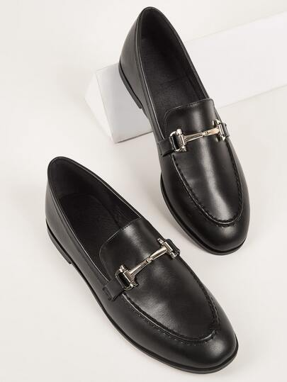 Metal Detail Slip On Flat Loafers