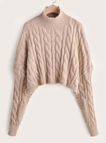 Leg-of-mutton Sleeve Cable Knit Crop Sweater