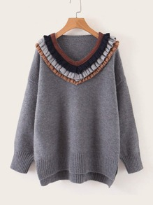 Lettuce Frill High Low Split Hem Sweater