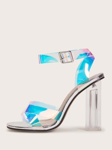 Holographic Detail Ankle Strap Chunky Heels