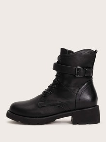 Buckle Decor Lace-up Combat Boots