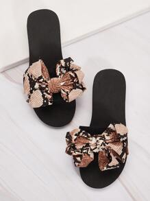 Bow Decor Snakeskin Open Toe Slippers