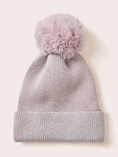 Fluffy Pom Pom Decor Knit Beanie