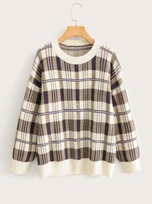 Plaid Print Drop Shoulder Sweater