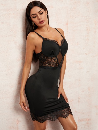 Contrast Lace Solid Bodycon Dress