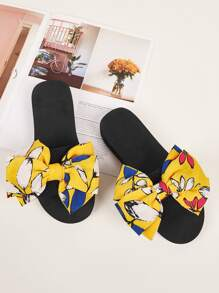 Floral & Bow Decor Open Toe Slippers