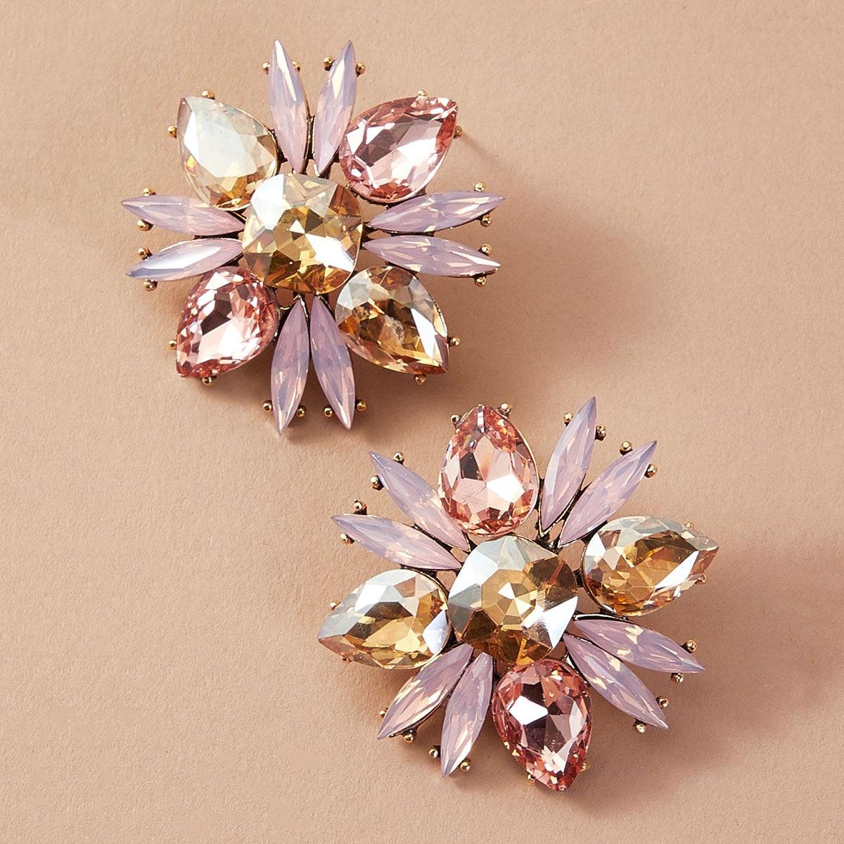 Серьги-гвоздики в форме цветка со стразами 1 пара