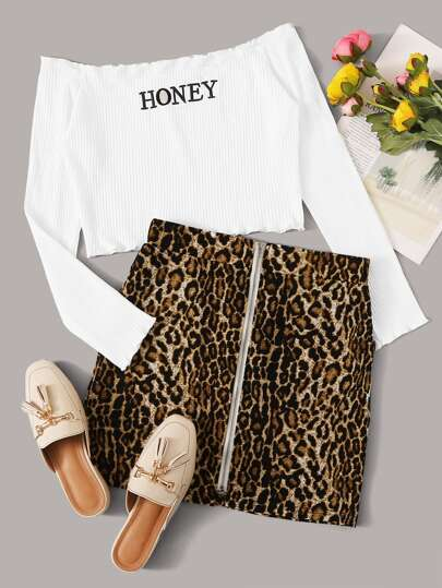 Letter Graphic Off Shoulder Ribbed Tee & Leopard Print Skirt