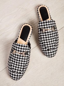 Metal Detail Houndstooth Flat Mules