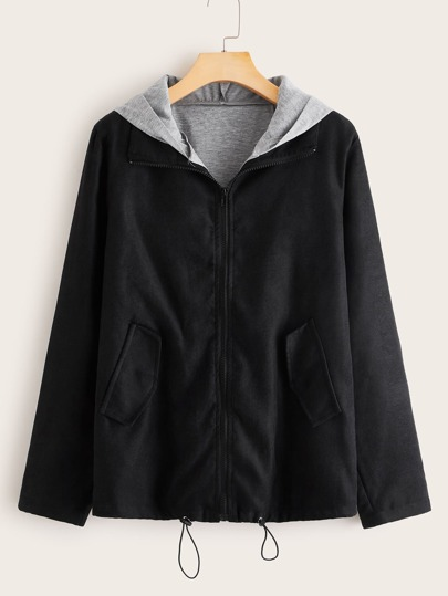 Contrast Panel Zip Up Hooded Jacket