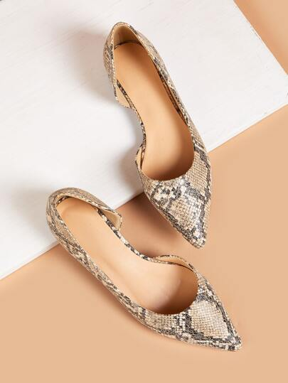 Point Toe Snakeskin Print Flat Loafers