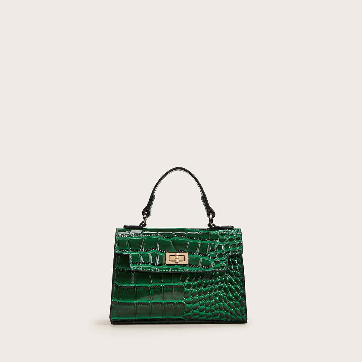 Рельефная сумка-сэтчел с поворотным замком