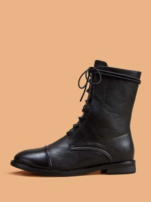 Lace-up Front Cap Toe Boots