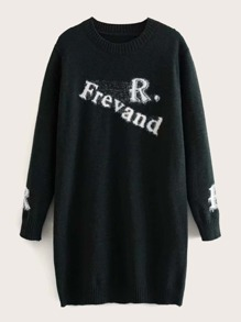 Letter Graphic Round Neck Longline Sweater