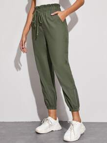 Solid Paper Bag Waist Drawstring Joggers