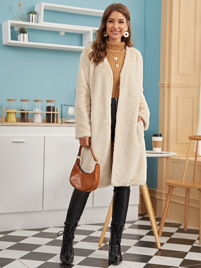 Open Front Pocket Side Faux Fur Coat
