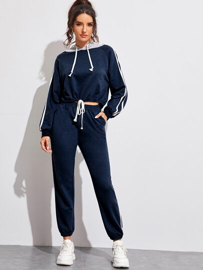 Contrast Tape Drawstring Hoodie & Sweatpants Set