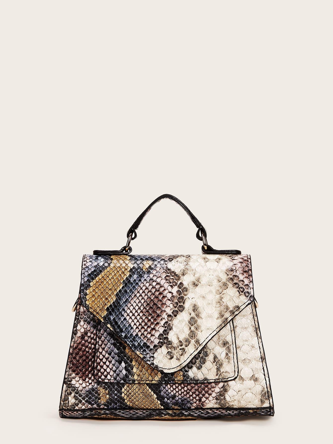 Snakeskin Print Flap Satchel Bag thumbnail