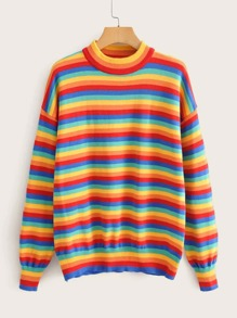 Rainbow Striped Drop Shoulder Sweater
