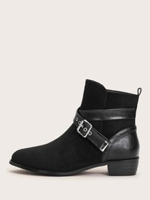 Buckle Decor Point Toe Ankle Boots