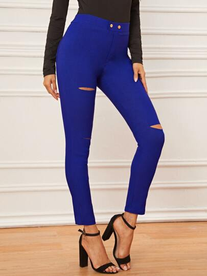 Ripped Button Fly Jeggings