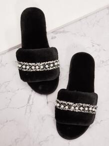 Faux Pearl Decor Fluffy Slippers