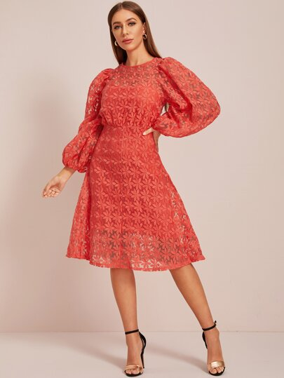 Embroidery Mesh Solid A-line Dress