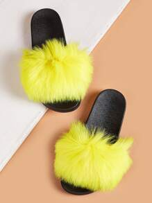 Faux Fur Decor Fluffy Slippers