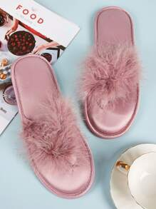 Faux Fur Decor Toe Post Slippers