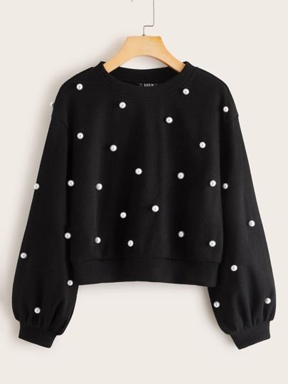 Pearl Beaded Crop Pullover
