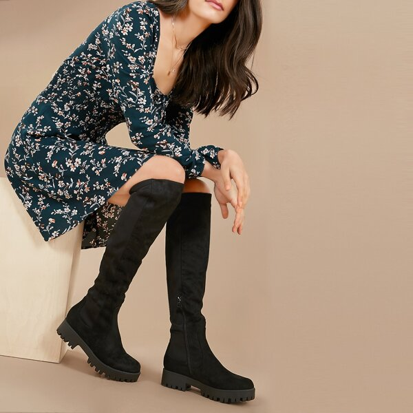 Block Heel Lug Sole Over The Knee Stretch Boots, Black