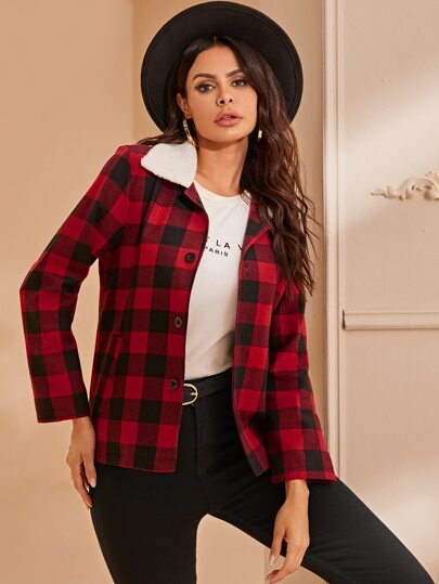 Buffalo Plaid Contrast Teddy Collar Coat
