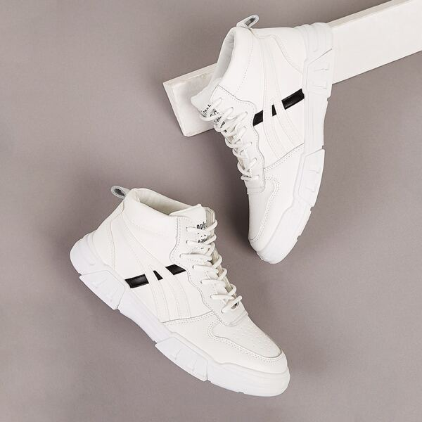 Men Letter Graphic Lace-up Sneakers, White