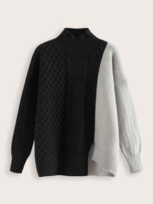Two Tone Cable Knit Split Hem Jumper