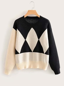 Colorblock Argyle Pattern Jumper