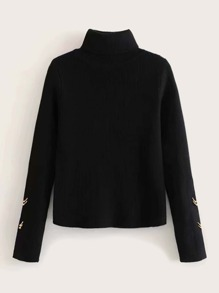 Buckle Side Funnel Neck Sweater