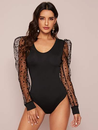 Sheer Dobby Mesh Sleeve Bodysuit