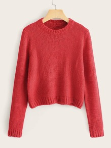 Solid Rib-Knit Round Neck Jumper