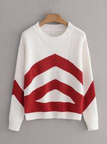 Chevron Print Rib-Knit Jumper