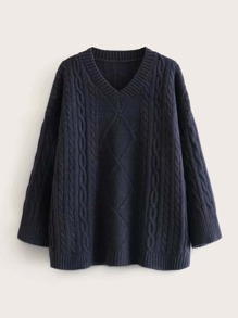Cable Knit V-neck Oversized Jumper