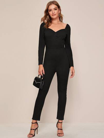 Sweetheart Zip Back Solid Jumpsuit