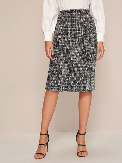 Double Button Frayed Trim Tweed Skirt