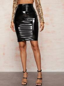 Solid PU Zip Back Bodycon Skirt