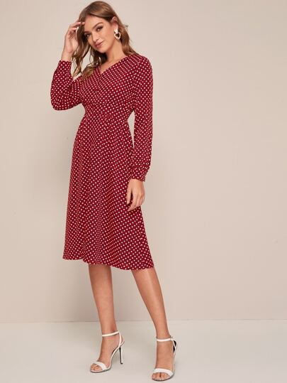 Polka Dot Button Front V-Neck Dress