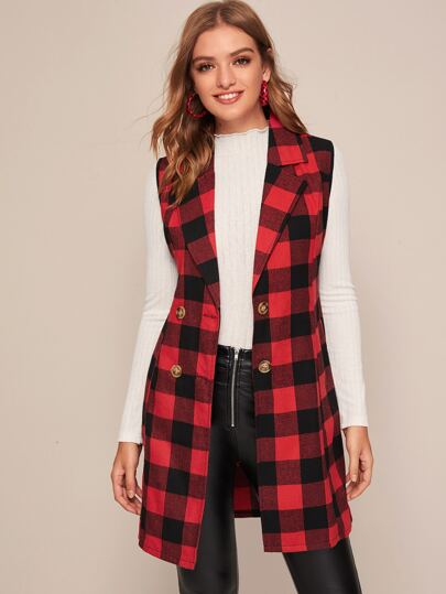 Plaid Print Double Breasted Vest Coat