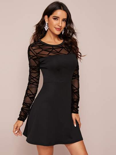 Sheer Contrast Mesh Solid Dress