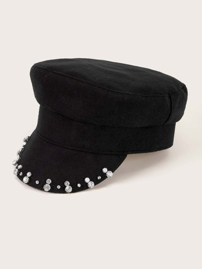 Rhinestone Decor Baker Boy Hat
